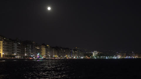 August Full moon over Thessaloniki, Greece waterfront GIF
