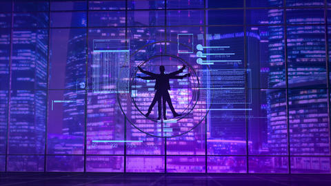 Vitruvian man on the background of neon lights of the city Animation