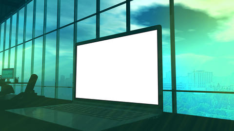 A laptop monitor close-up with an alpha channel Animation
