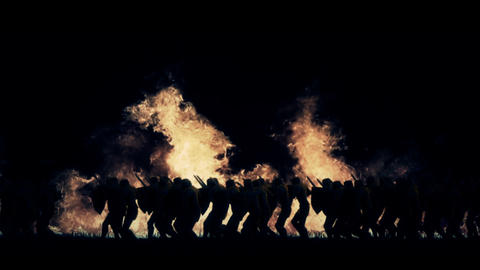Army of Knights Marching in a Burning Field GIF