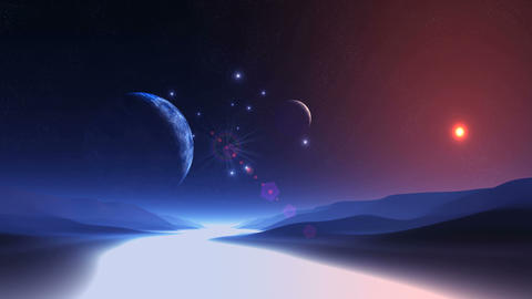 Two Moons over Alien Planet Animation