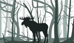 Elk in grey forest abstract background eps Vector