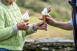 Senior couple enjoy their ice cream in the nature Photo