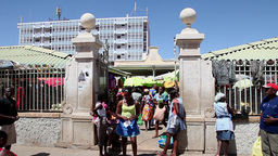 entry to the market in Praia town in Cape Verde, Africa Footage