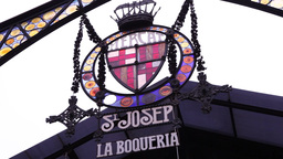 iron symbol from market la Boqueria in Barcelona, Spain Footage