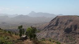 Rocky Mountains in santigo Island in Africa Cape Verde Footage