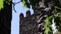 Ancient Castle Walls, Focus From Tree stock footage