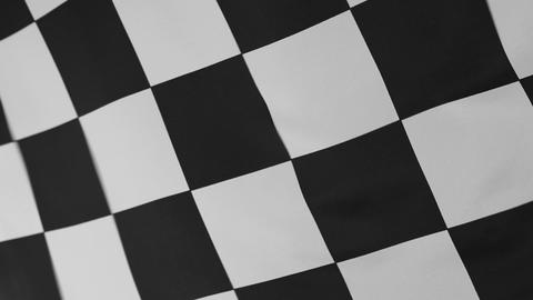 Closeup of black and white checkered flag Footage