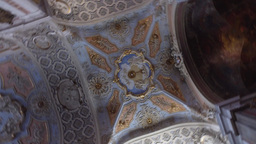 ornate ceiling of Saint Catherine church in Lisbon Portugal Footage