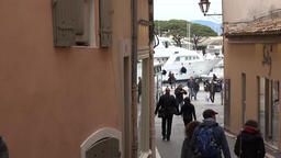 France Cote d'Azur Saint Tropez pathway from pedestrian zone to old harbor Footage