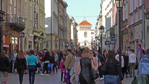 Krakow, Poland - Spring, 2018: Old Town of Krakow Footage