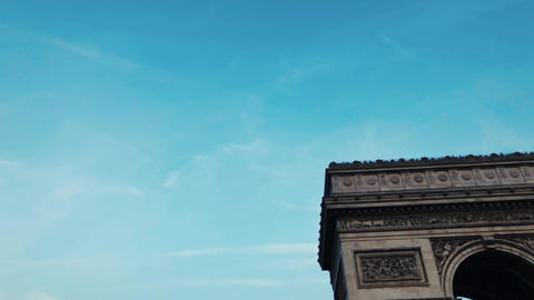 Horizontal travelling in slow motion - arc de Triomphe Champs Elysees - Paris in Footage