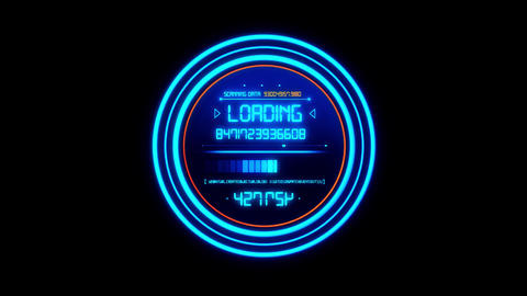 Blue HUD Data Loader Interface Loopable Graphic Element Animation