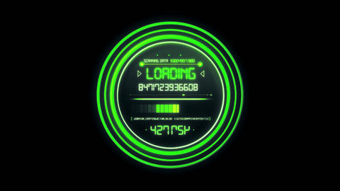 Green HUD Data Loader Interface Loopable Graphic Element Animation