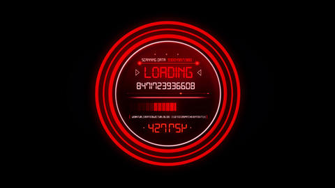 Red HUD Data Loader Interface Loopable Graphic Element Animation
