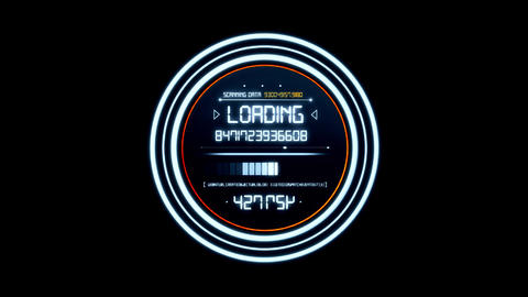 White HUD Data Loader Interface Loopable Graphic Element Animation