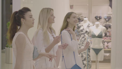 Friendship and shopping. Women walking and talking Live Action