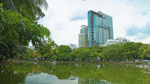office building of the corporation with a view of the lake in the park Footage