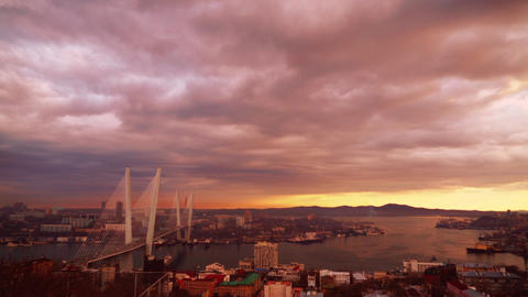 The Golden bridge. Vladivostok Footage