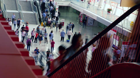 Time lapse people at escalator in shopping mall Footage