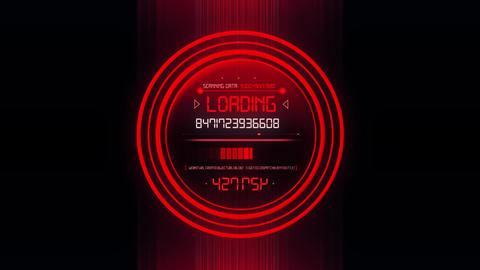 Red HUD Data Loader Interface Loopable Graphic Element V2 Animation