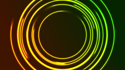 Vibrant glowing neon circles video animation Animation