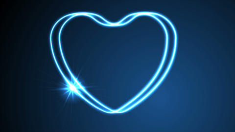 Glowing neon retro hearts video animation GIF