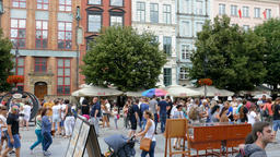 Gdansk, Poland. Old Town. Main City. Strolling tourists Live Action