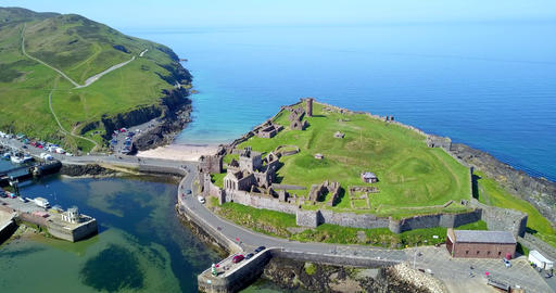 Peel Castle On Isle Of Man Aerial View Live Action