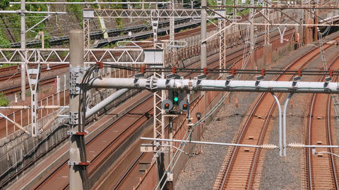 TimeLapse - Railroads where various trains go and go GIF