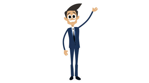 Businessman Cartoon Animation Template 6 - Waving [4K] Animation