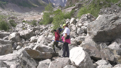 The family goes up the mountain path. A joint trip strengthens the relationship Live Action
