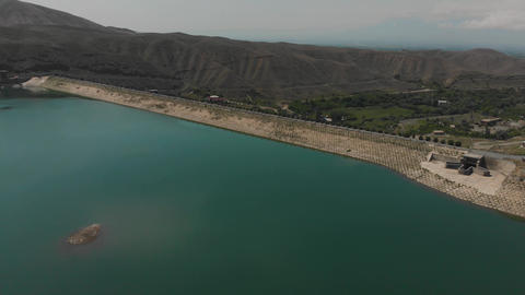 Aerial shot of dam on Azat River in Armenian Highlands GIF