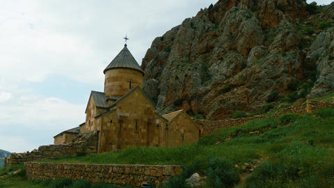 Old Surb Karapet Church of Noravank monastery at the foot of red rock in GIF