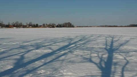 Winter tree shadows on snowy lake ice, aerial view Footage