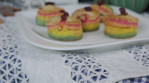 Fresh baked homemade Rainbow Scones cake Live Action