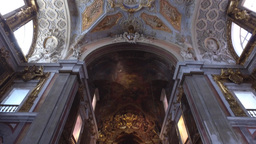 Tilt view of ceiling and altar of St. Catherine church in Lisbon, steady shot Footage