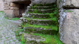 stone stairs of old village stone house, steady cam Footage