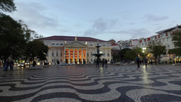 Rossio square at nightfall in Lisbon, Portugal, steady shot Footage