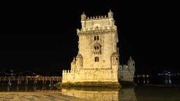 Belem tower at night in Lisbon Portugal hyperlapse Footage