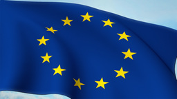 Euro Europe Flag Closeup Waving Against Blue Sky Eurozone EU European Union 4k stock footage