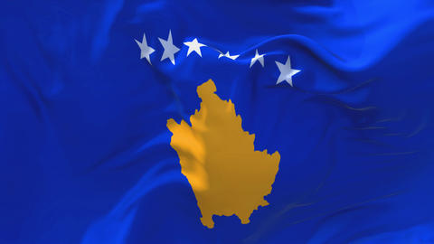 88. Kosovo Flag Waving in Wind Continuous Seamless Loop Background Footage