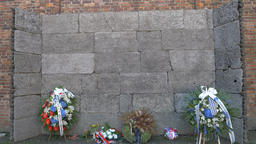 Death/execution wall in Auschwitz concentration camp Live Action