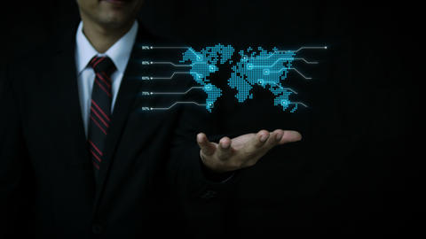 Business man using hologram dot world map with percentage GIF