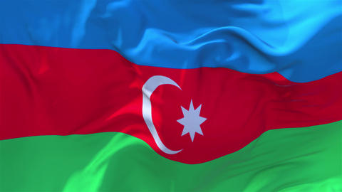 154. Azerbaijan Flag Waving in Wind Continuous Seamless Loop Background Footage