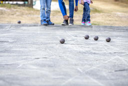 Family playing with balls at leisure フォト