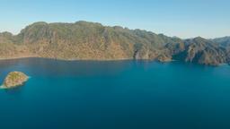 Aerial view tropical lagoon,sea, beach. Tropical island. Busuanga, Palawan Footage