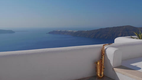 Saxophone in the corner on the island of Santorini Footage