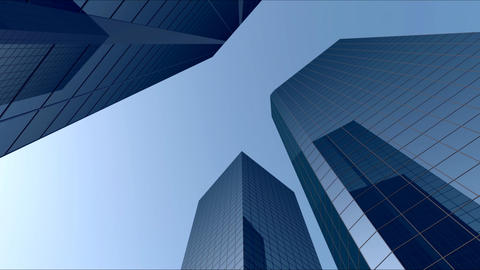 City Buildings With Blue Sky 01 Animation