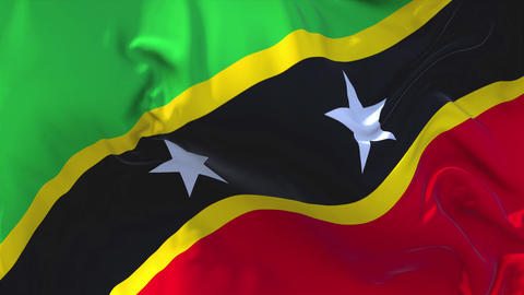 255. Saint Kitts and Nevis Flag Waving Continuous Seamless Loop Background Live Action